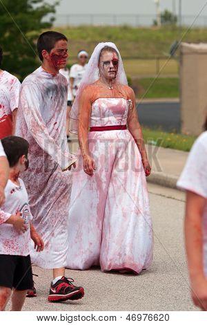 Bloody Zombie Bride Walks In Odd 5K Race