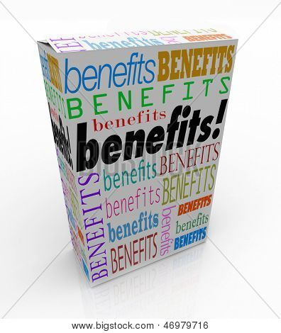The word Benefits on a product box or package to illustrate the advantage or special uniqe qualities of your goods or service