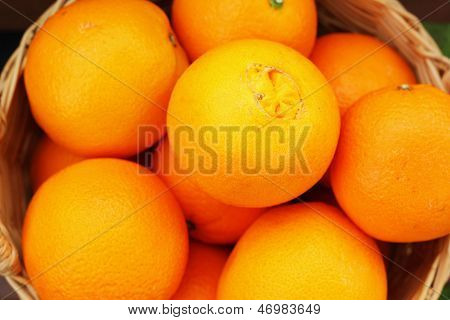 Citrus Fruits In The Basket.
