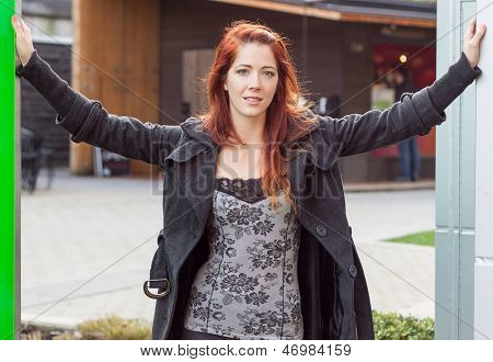 Woman In Entranceway-smiling