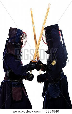 Two kendo fighters are fighting with each other. Asian martial arts.