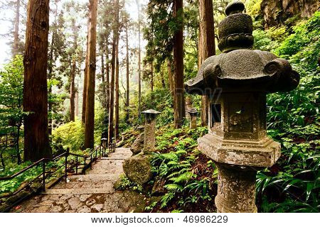 Walking trail to Yamadera Mountain Temple in Yamagata, Japan.