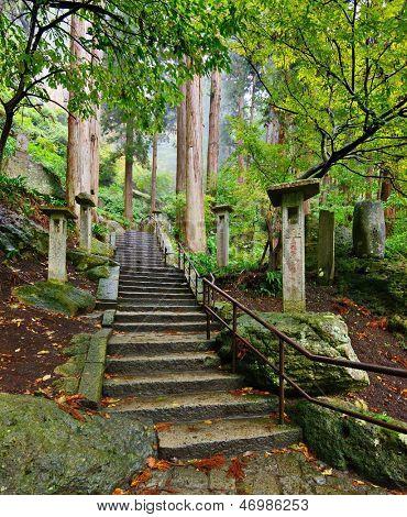 Walking trail to Yamadera Mountain Temple in Yamagata, Japan.