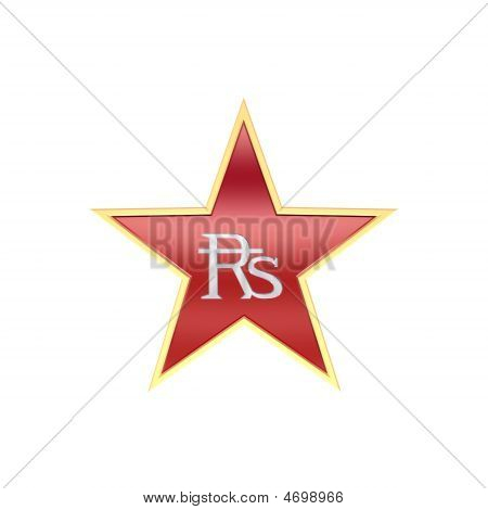Chrome Indian Rupees Sign In The Star Isolated On White.