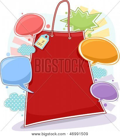 Background Illustration of Shopping Bag with Discount Price Tag and Speech Bubbles