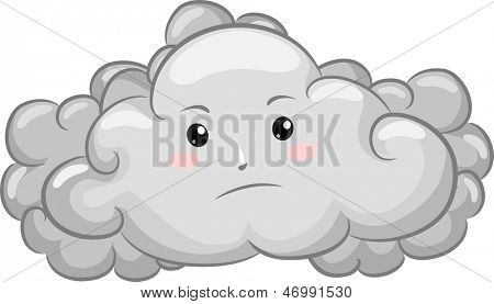 Illustration of Gloomy Dark Cloud Mascot
