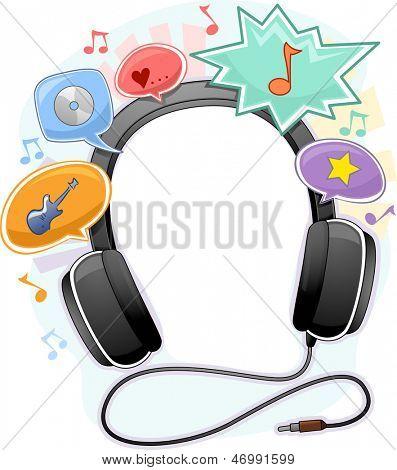 Background Illustration of Music Headphone Frame