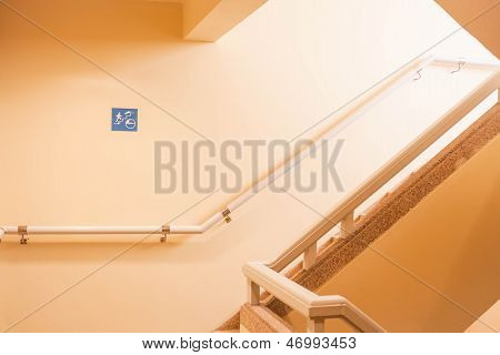 Tsunami Escape Stairwell Behind A Tall Building