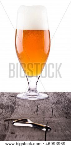 Beer Glass On Wooden Table Background
