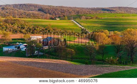 Houses, Roads, Farm Fields And Rolling Hills Of Southern York County, Pennsylvania