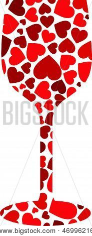 Wine Glass with red hearts