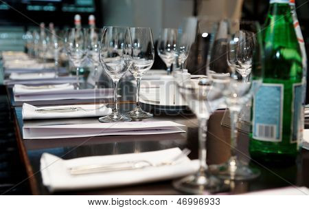 Table set for official dinner and presentation