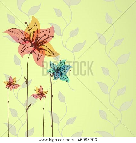 Floral hand-drawn vector background