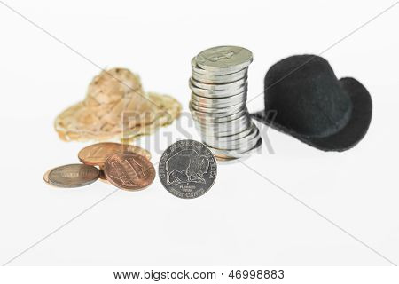 American Bison Nickel, Cowboy Hat, Straw Hat And Coins Close-up