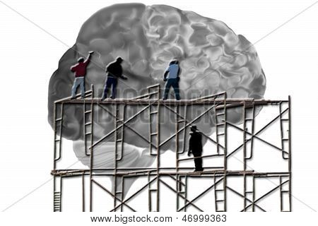 Men On Scaffolding Working On A Brain