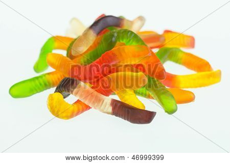 Gummy Worm Candies Close Up