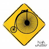 image of penny-farthing  - warning road sign with a penny - JPG