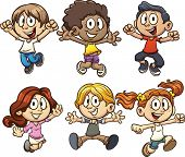picture of exciting  - Excited cartoon kids jumping - JPG