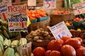 stock photo of farmers market vegetables  - Colorful fresh vegetables for sale at a farmers market.