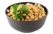 picture of bengal-gram  - Closeup of a bowl with boiled chickpeas on a white background - JPG