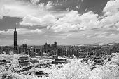 Taipei cityscape with famous landmark, 101 skyscraper under dramatic sky, infrared photography. Shoot at Taipei, Taiwan, Asia. poster