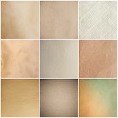 stock photo of rusty-spotted  - Old Beige Papers Set Isolated On White Background - JPG