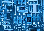 Extreme close up shot of electronic circuit board