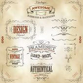 stock photo of scroll  - Illustration of a set of hand drawn frames sketched banners floral patterns ribbons and graphic design elements on vintage leather or old paper background - JPG