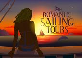 stock photo of dolphins  - Romantic tours design template with relaxing woman silhouette and dolphins at sunset - JPG