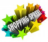 The words Shopping Spree in a colorful burst of stars or fireworks as a sweepstakes prize or winning