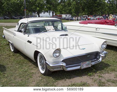 1957 White Ford Thunderbird Hardtop Convertible