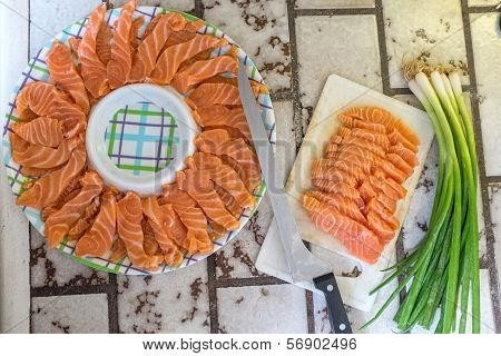 Prepared Sashimi Japanese Food With Onion Leaves