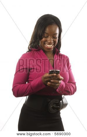 Hispanic Woman Working With Personal Device Cell Phone