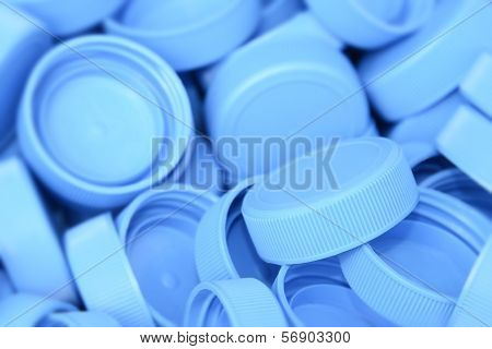 Recycling - pile of plastic bottle caps