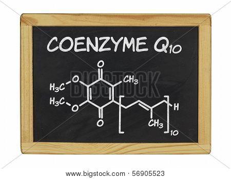 chemical formula of coenzyme q10 on a blackboard