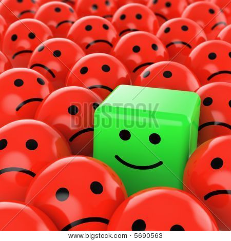 Green Cube Smiley Happy