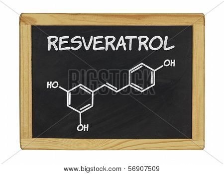 chemical formula of Reveratrol on a blackboard