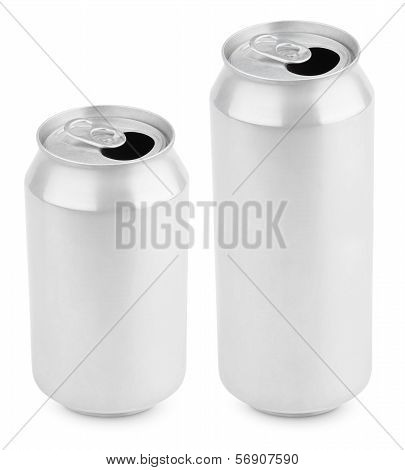 Two Opened Aluminum Cans Of Beer On White