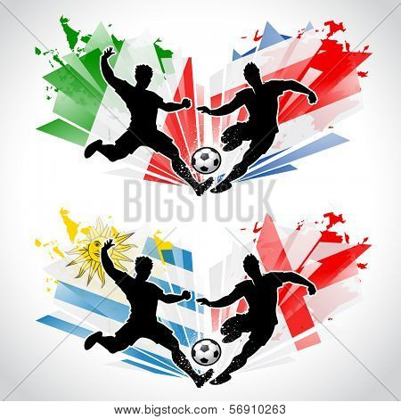 Soccer players representing different countries