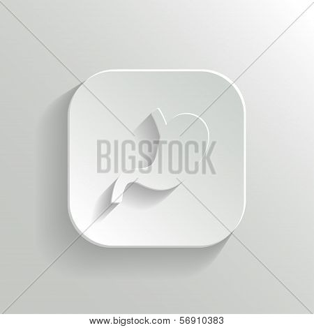 Stomach icon - vector white app button