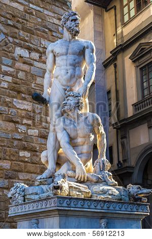 Hercules And Cacus Representation On Piazza Signoria In Florence