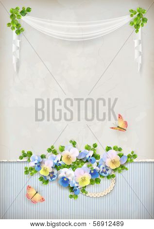 Shabby chic romantic flower vintage background