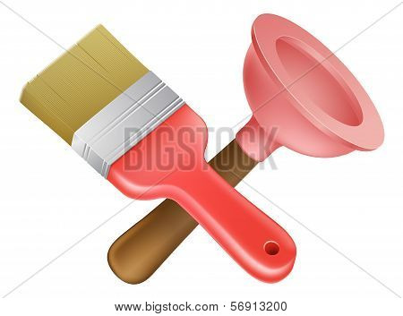 Crossed Plunger And Paintbrush Tools