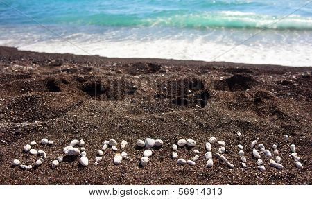 Text Santorini Made ??with Pumice Stones