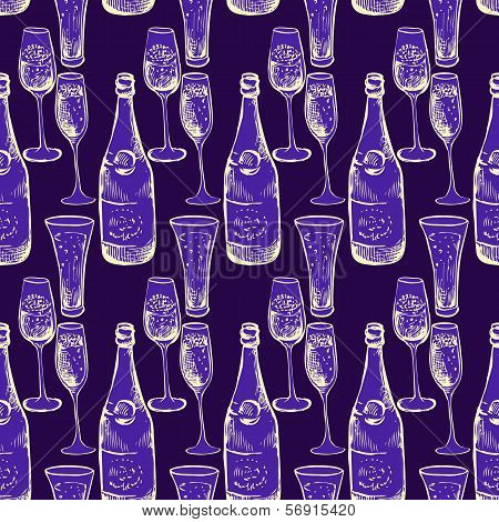 seamless vector pattern with champagne