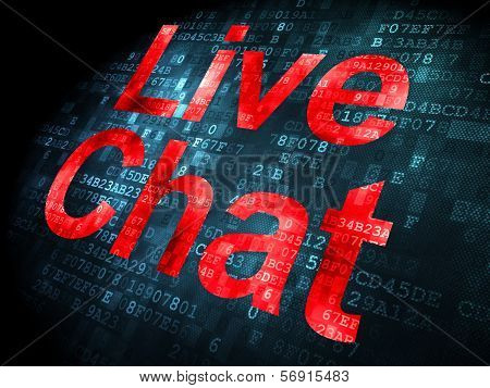 SEO web design concept: Live Chat on digital background