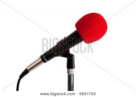 Microphone With Red Windscreen