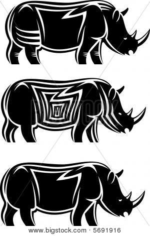 Set of wild rhinoceroses