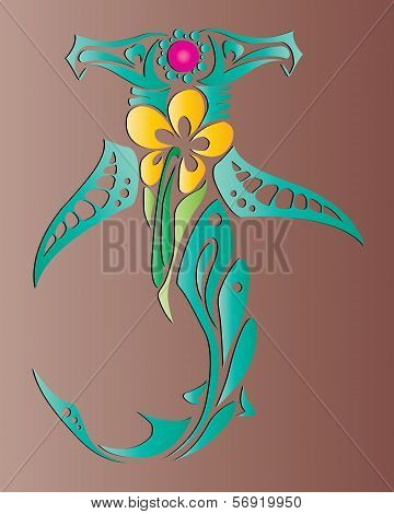 ornament design- Tribal Shark Predators with Flower