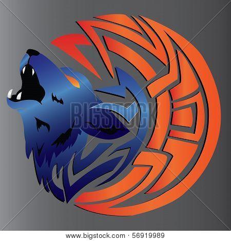 ornament design- fox head tribal art